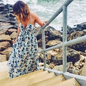 Free People Mulberry Maxi Dress in Floral Blue M